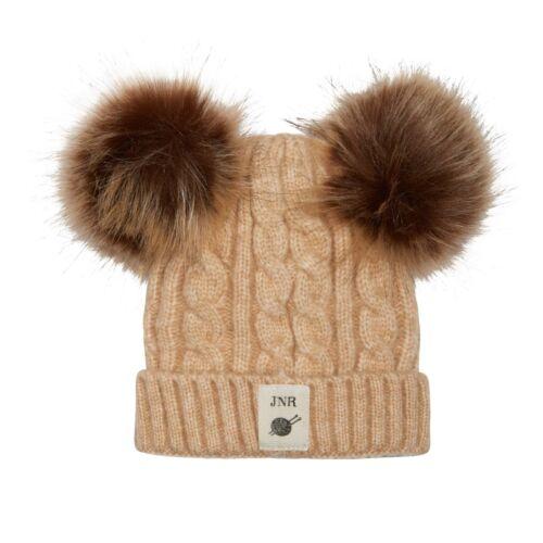 Aran Traditions Kids Winter Warm Knitted Faux Fur Double Pom Pom Beanie Hat