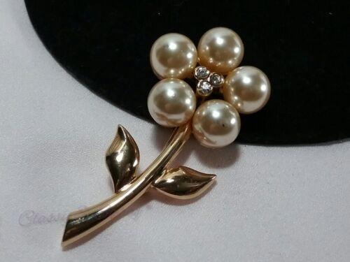 Vintage Gold Piscitelli Crystal Rhinestone Pearl … - image 1