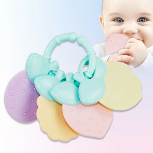 4Pcs//set Baby Safety Teether Baby Teething Rattle Toys Food Grade Teethi CL