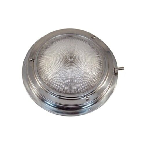 """Boat Marine Polished Stainless Steel Dome Light 4/"""" Lens Diameter 5-1//2/"""" OD"""
