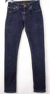 Nudie Jeans Femmes Serré Long John Slim Jeans Extensible Taille W25 L32 AVZ1590