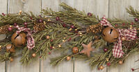 Rustic Pine Garland Rusty Bells Stars Berry Homespun Bows Country Christmas