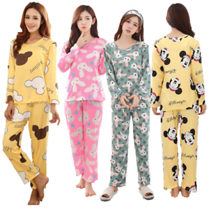 b3b53a5aca31 Women s Girls Pyjamas pj Set Cute Long Sleeve Top Nightwear Soft ...