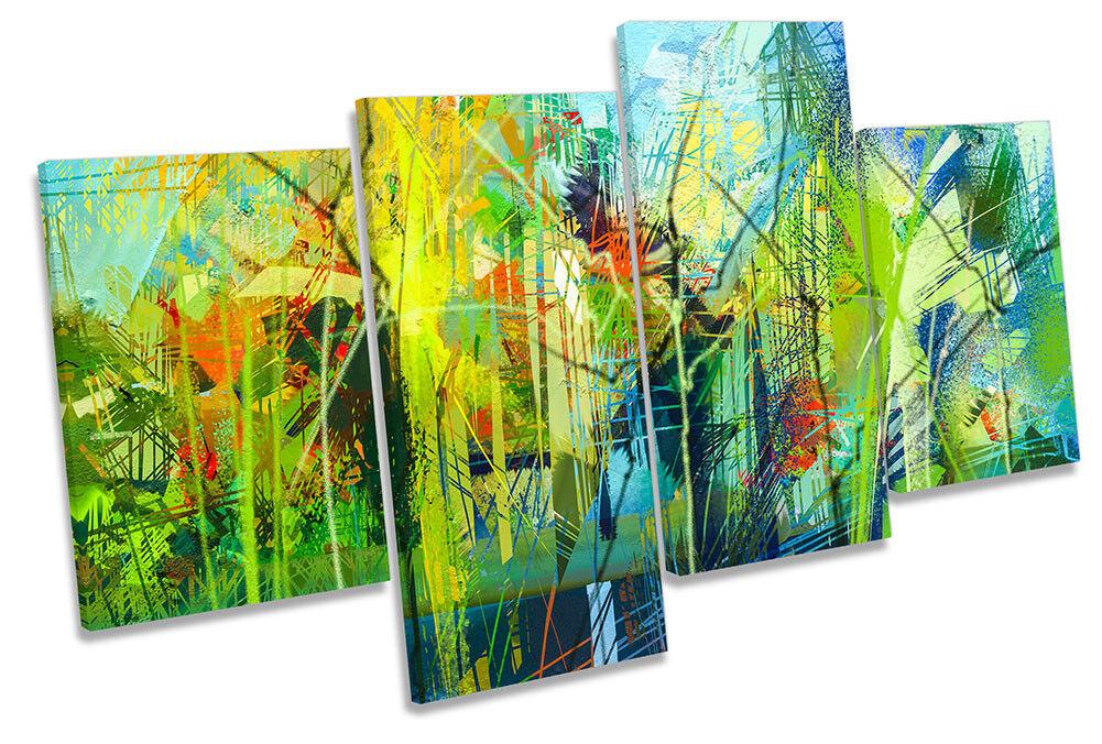 Grün Abstract Design MULTI CANVAS WALL ARTWORK Print Art