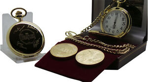 THE-BEATLES-Signed-Gold-Pocket-Watch-plus-Gold-Coin-Luxury-Gift-Set-in-Case