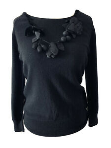 Jigsaw-Black-Wool-Angora-Cashmere-Blend-Jumper-Floral-Necklace-Embroidery-Size-L