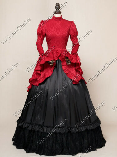 Victorian Dresses | Victorian Ballgowns | Victorian Clothing    Gothic Victorian Downton Abbey Brocade Gown Dress Theater Quality Steampunk 324  AT vintagedancer.com