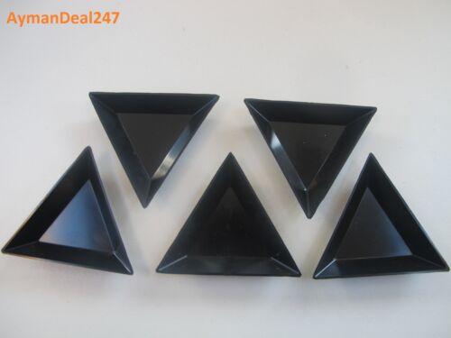 (5) PLASTIC TRIANGULAR SORTING TRAYS BLACK - CZ'z - CRYSTALS CRAFTS BEADWORK 5 p