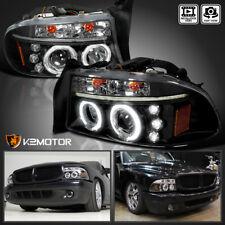 1997-2004 Dodge Dakota/Durango LED Halo Projector Headlights Black Left+Right