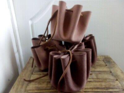 Handmade In Uk Pelle Custodia Portamonete Dadi Larp Rievocazione Brown Bag-mostra Il Titolo Originale