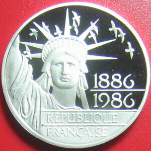 1986-FRANCE-100-FRANCS-SILVER-PROOF-STATUE-OF-LIBERTY-MONNAIE-FRENCH-COIN-31mm
