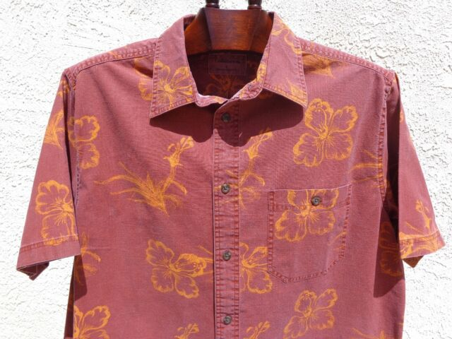 Men's CROFT & BARROW L 100% Cotton Hawaiian Short Sleeve Yellow Hibiscus