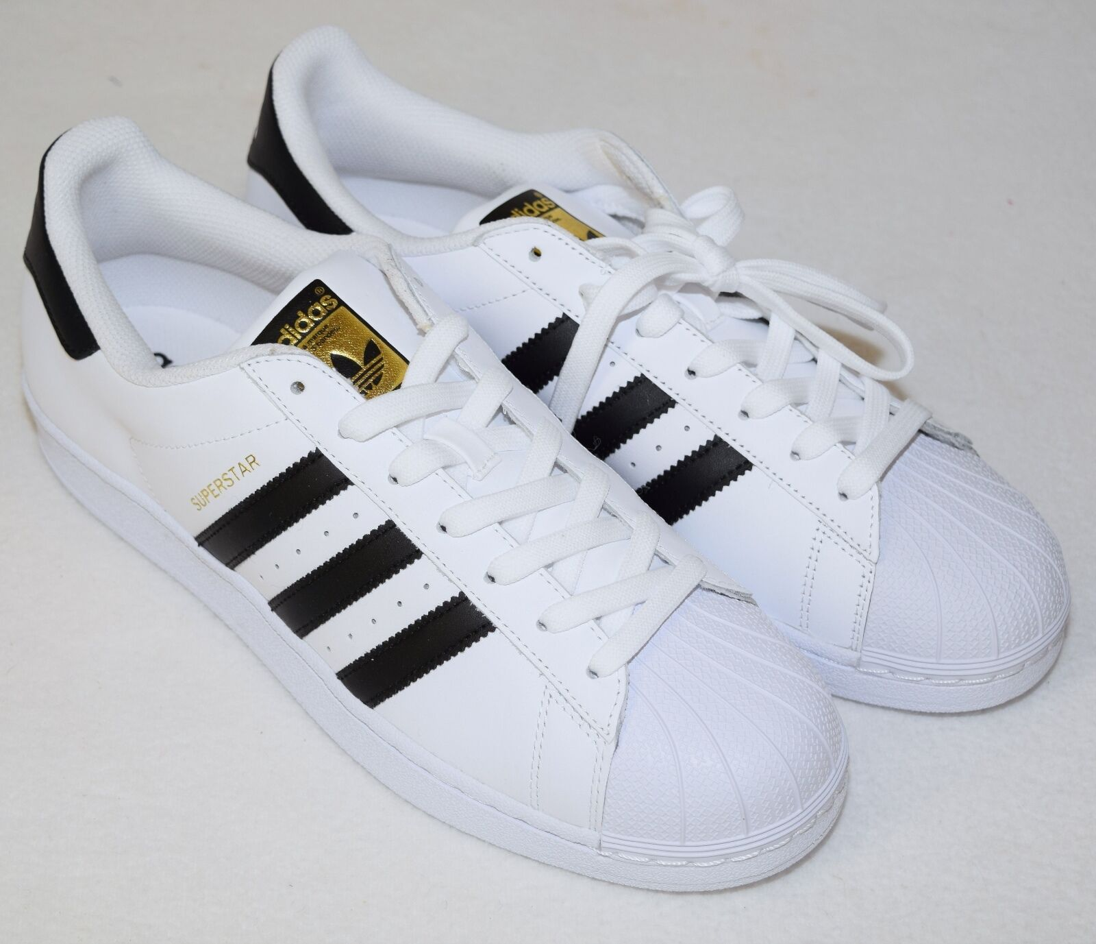 Adidas Superstar White Black gold shoes Sneakers Men's C77124 10.5 NEW La Marque