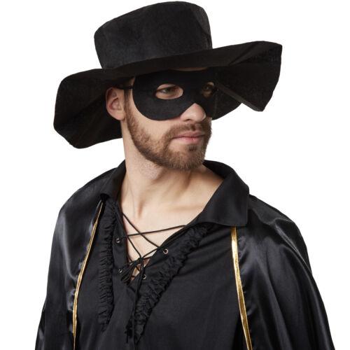 Costume per Uomo Zorro Mantello Maschera e Cappello Party Carnevale nuovo