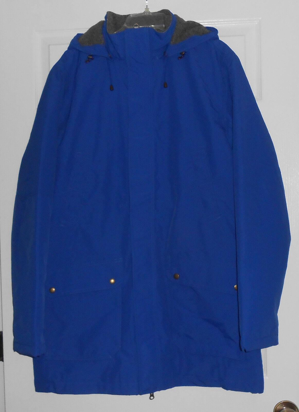 Lands End Medium bluee Fleece & Quilted Lining Parka w  Hood Size M T NWOT