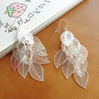 New Fashion 925 Sterling Silver Earring Multilayer Hollow Leave Pendent