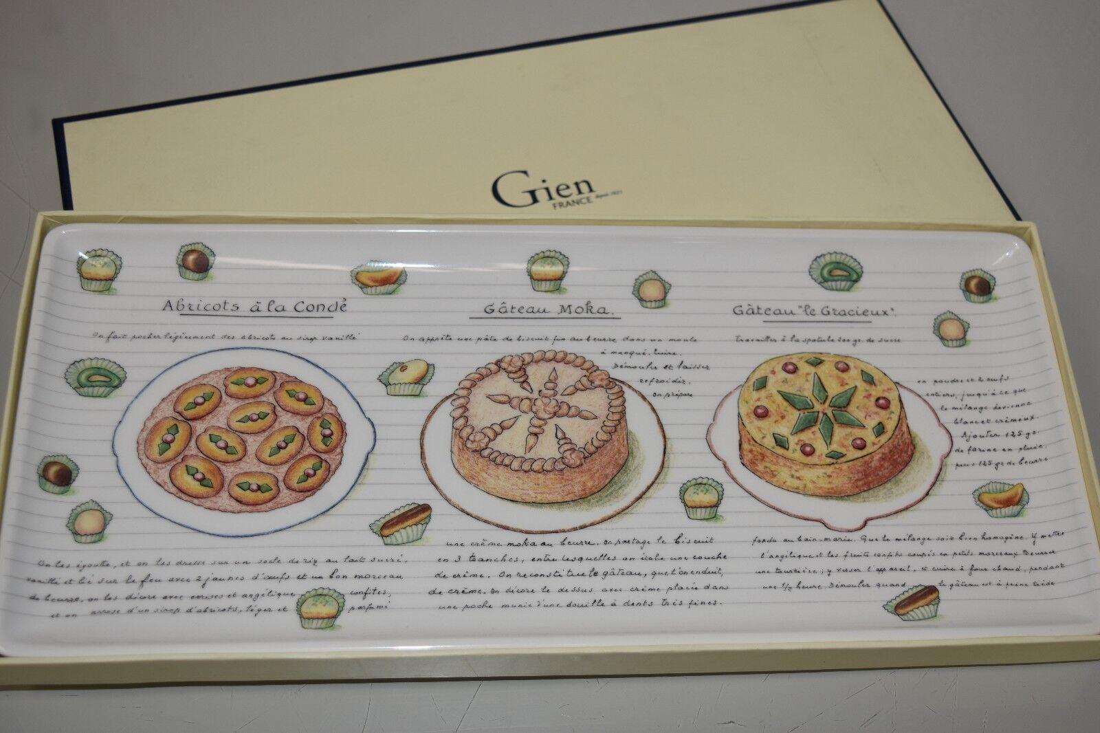 Neuf Gien France Desserts Gourmand Rectangle Plateau Gateau Plateau Assiette