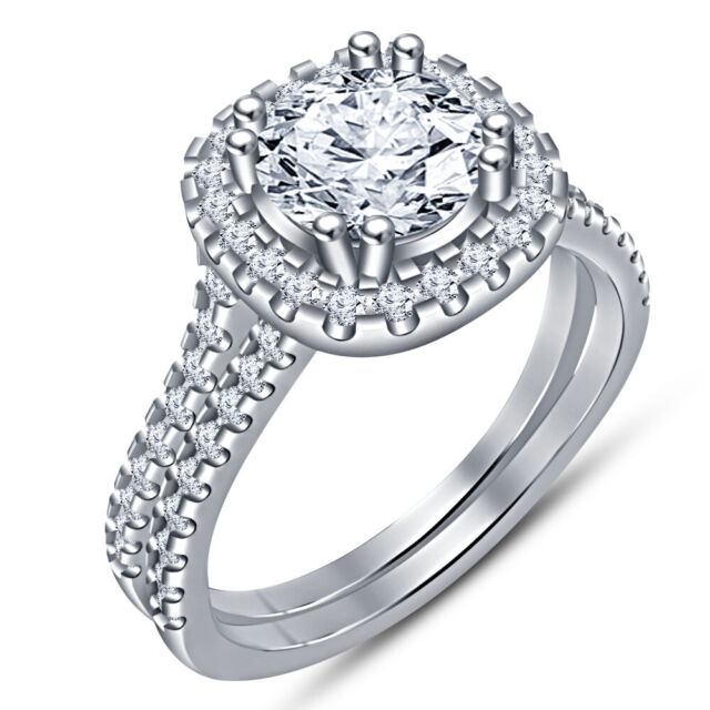 2 CT Round Cut Diamond Halo Bridal Set Engagement Wedding Ring 14k White Gold Fn