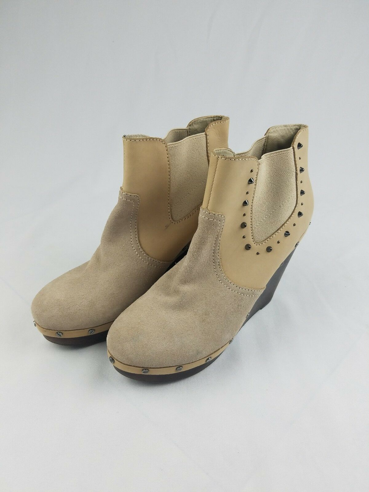 Dr. Scholl's Abbey Original Collection women 9 tan leather suede wedge booties