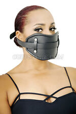 NEW Adult BDSM High Quality Extreme Real Black Leather Locking Mouth Gag Mask