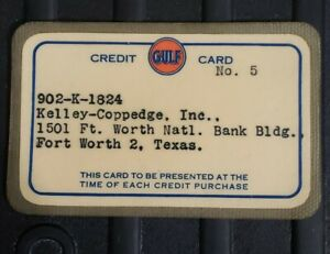 Vintage Rare GULF Oil Corporation Credit Card Ft. Worth TX Texas