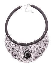 Layla Chrome Bib & Black Droplet Diamond & Black Chord Statement Necklace(Ns16)