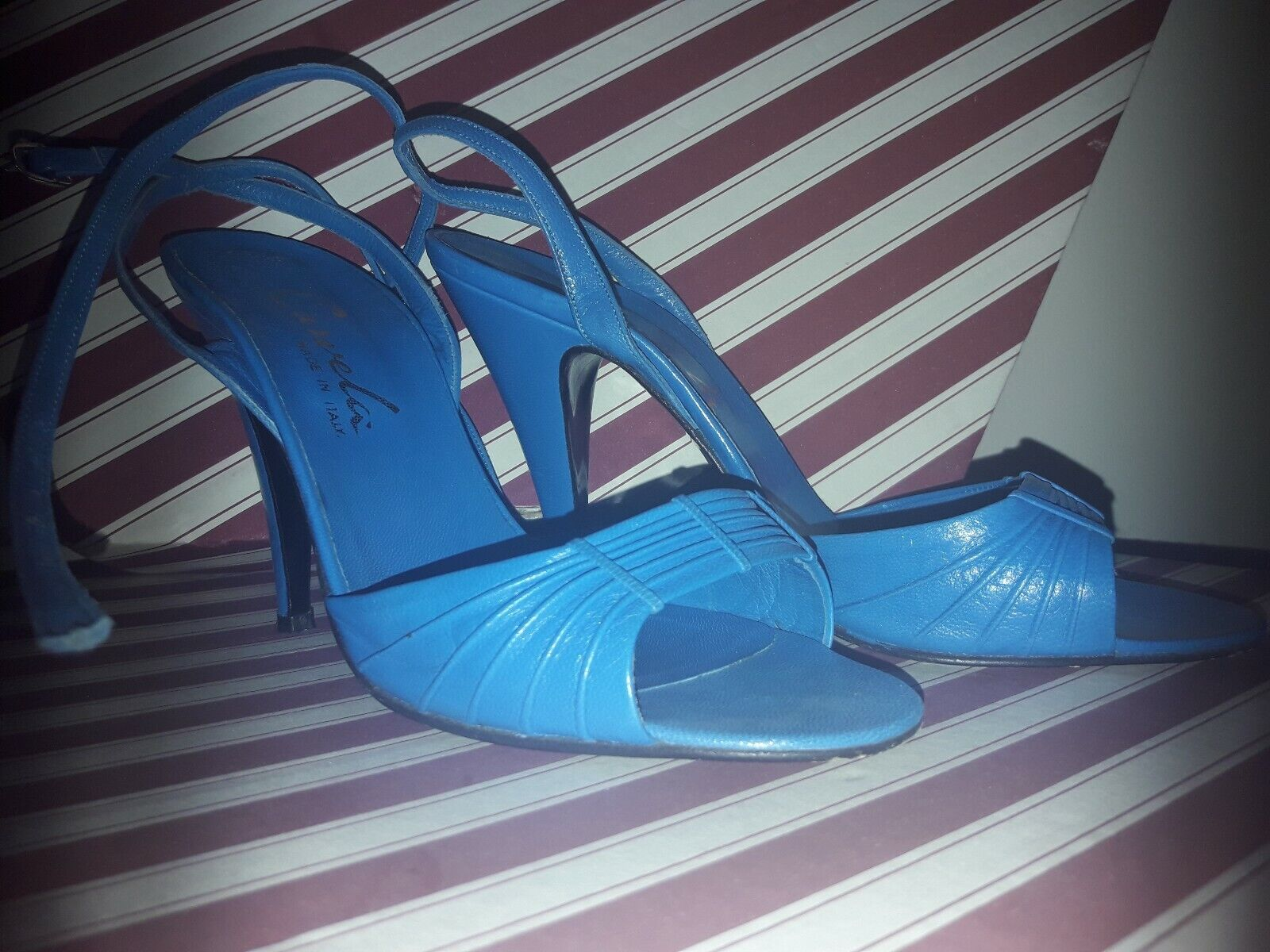 Carvela Vero Cuoio SANDALS Heels PARTY Summer  Pearla 37 Royal bluee leather