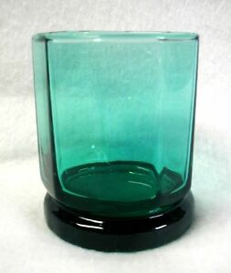 Anchor-Hocking-Double-Old-Fashioned-Glass-Essex-Green-10-Facets-Art-Deco-3-3-4-034