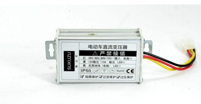 DC36V/48V/60V/72V To 12V 10A Converter Adapter for Electric Car Battery
