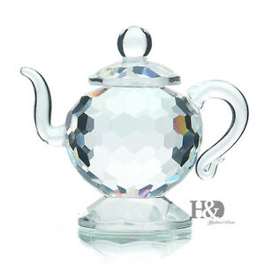 H-amp-D-Clear-Crystal-Teapot-Figurines-Paperweight-Glass-Valentine-Ornaments-Gifts