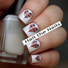 Nails WRAPS Nail Art Water Transfers Decals - Union Jack Flag Love Hearts Y35