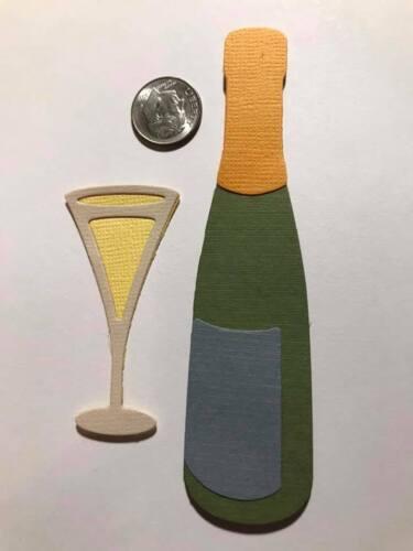 4 Pieces Champaign /& Glass Premade PAPER Die Cuts Scrapbook /& Card Making