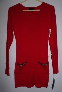 NWT MISSES JUNIORS AB STUDIOS RED SWEATER DRESS SIZE SMALL S LONG SLEEVE NEW