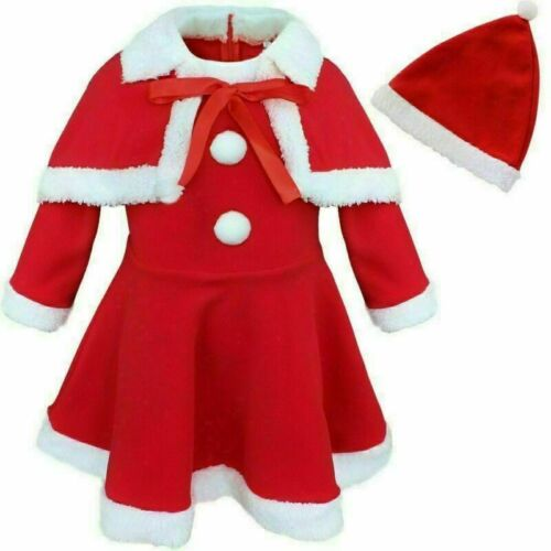 UK Christmas Santa Red Dress Hat Outfit Girls Kids Xmas Party Fancy Costume Sets