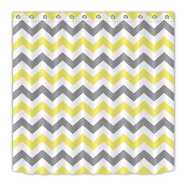 Yellow And Grey Chevron Pattern Shower Curtain Liner Bath Mat Waterproof Fabric Hover To Zoom