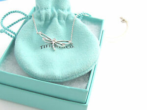 Tiffany co rare silver diamond dragonfly necklace charm ebay image is loading tiffany amp co rare silver diamond dragonfly necklace mozeypictures Images