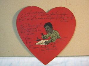black americana valentine card heart shaped w boy writing t ebay