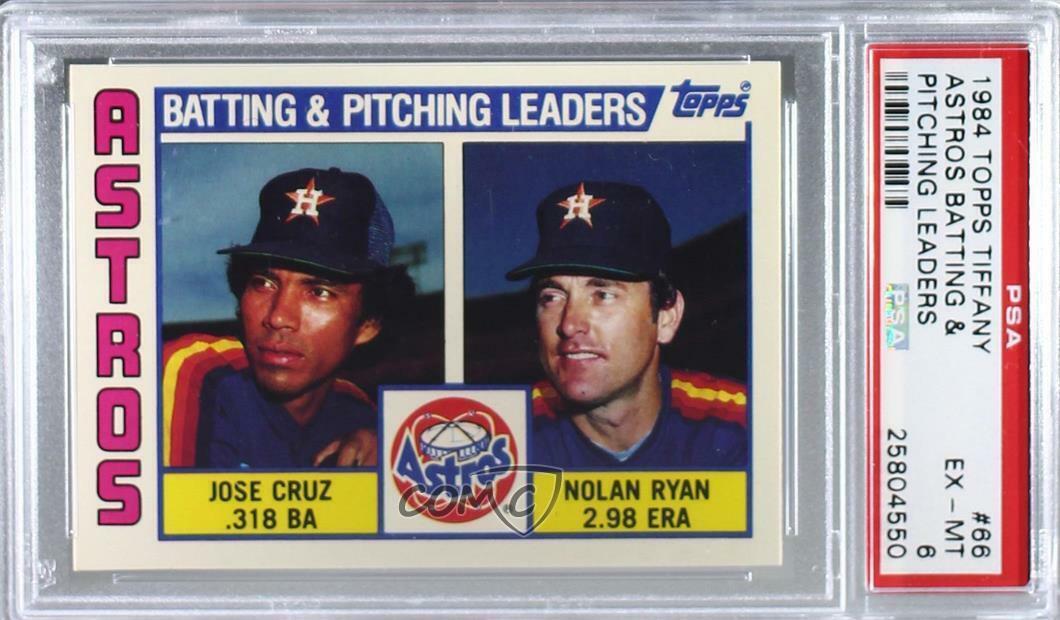 Image 01 - 1984 Topps Tiffany Jose Cruz Nolan Ryan #66 PSA 6 HOF