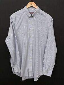 VINEYARD-VINES-Men-039-s-Long-Sleeve-Slim-Fit-Whale-Shirt-sz-L-Large-Check