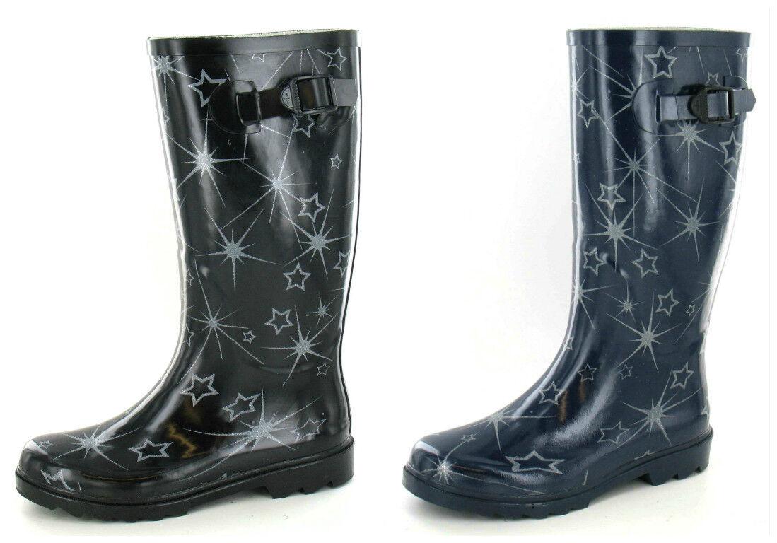 X1150- Ladies Rubber Star Design Wellington Boot - 2 Colours Navy & Black!