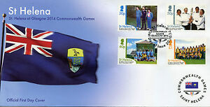 St Helena Sports Stamps 2014 FDC Commonwealth Games Glasgow 4v Set