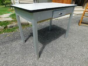 Antique 30s Art Deco Kitchen Dining Enamel Porcelain Top Work Table Desk Drawer   eBay