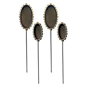 4 New Oval Shape Bezels Hatpins Stick Pins fill w/ Ice Resin, Paper, Ephemera