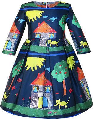 Girls Dress House Tree Print Cartoon Long Sleeve Winter Dress Size 4-14