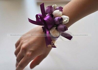 Brides Bridesmaids Wedding Bouquet Hand Flowers Wrist Flowers Purple Rose