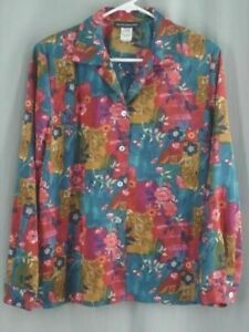 Womens-shirt-top-blouse-sz-S-polyester-floral-blue-pink-red-purple-Impressions