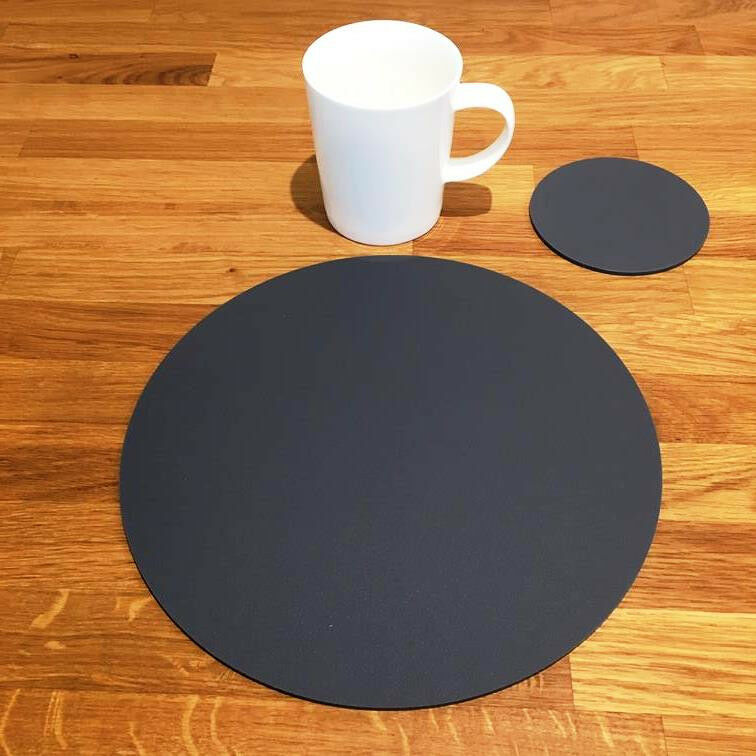 Rund Tischset und Untersetzer Set - Graphit Grau Grau Grau     | Outlet Store  6801ec