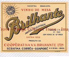 1940s BRASIL Serafina Correa Guapore BRILLHANTE Vinho Wine Liqueur Label