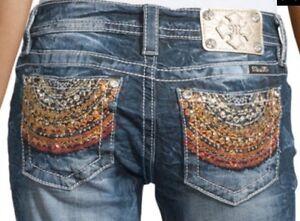Miss-Me-Signature-Rise-Sun-Fire-Bootcut-Jeans-Size-32-X-32