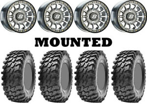 Kit-4-Maxxis-Rampage-Tires-32x10-15-on-Sedona-Sano-Beadlock-Machined-Wheels-550